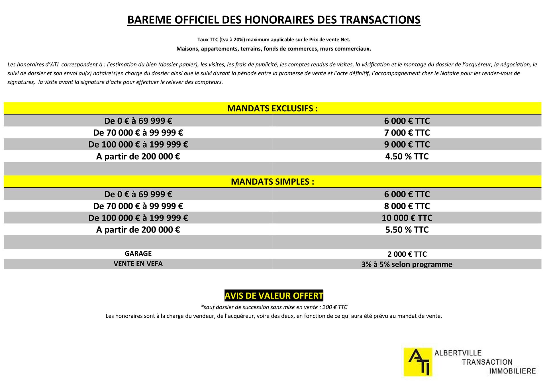 Barème officiel des honoraires des transactions